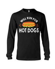 WILL RUN FOR HOT DOGS FUNNY Long Sleeve Tee thumbnail