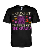 I CROCHET TO BURN OFF THE CRAZY V-Neck T-Shirt thumbnail