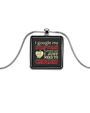 I Googled My Symptoms Crochet Funny Crochet Metallic Rectangle Necklace thumbnail
