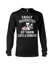 EASILY DISTRACTED BY YARN CATS AND DONUTS Long Sleeve Tee thumbnail