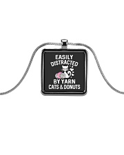 EASILY DISTRACTED BY YARN CATS AND DONUTS Metallic Rectangle Necklace thumbnail
