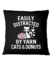 EASILY DISTRACTED BY YARN CATS AND DONUTS Square Pillowcase thumbnail