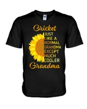 GRANDMOTHER GIFT COOL CRICKET GRANDMA V-Neck T-Shirt thumbnail
