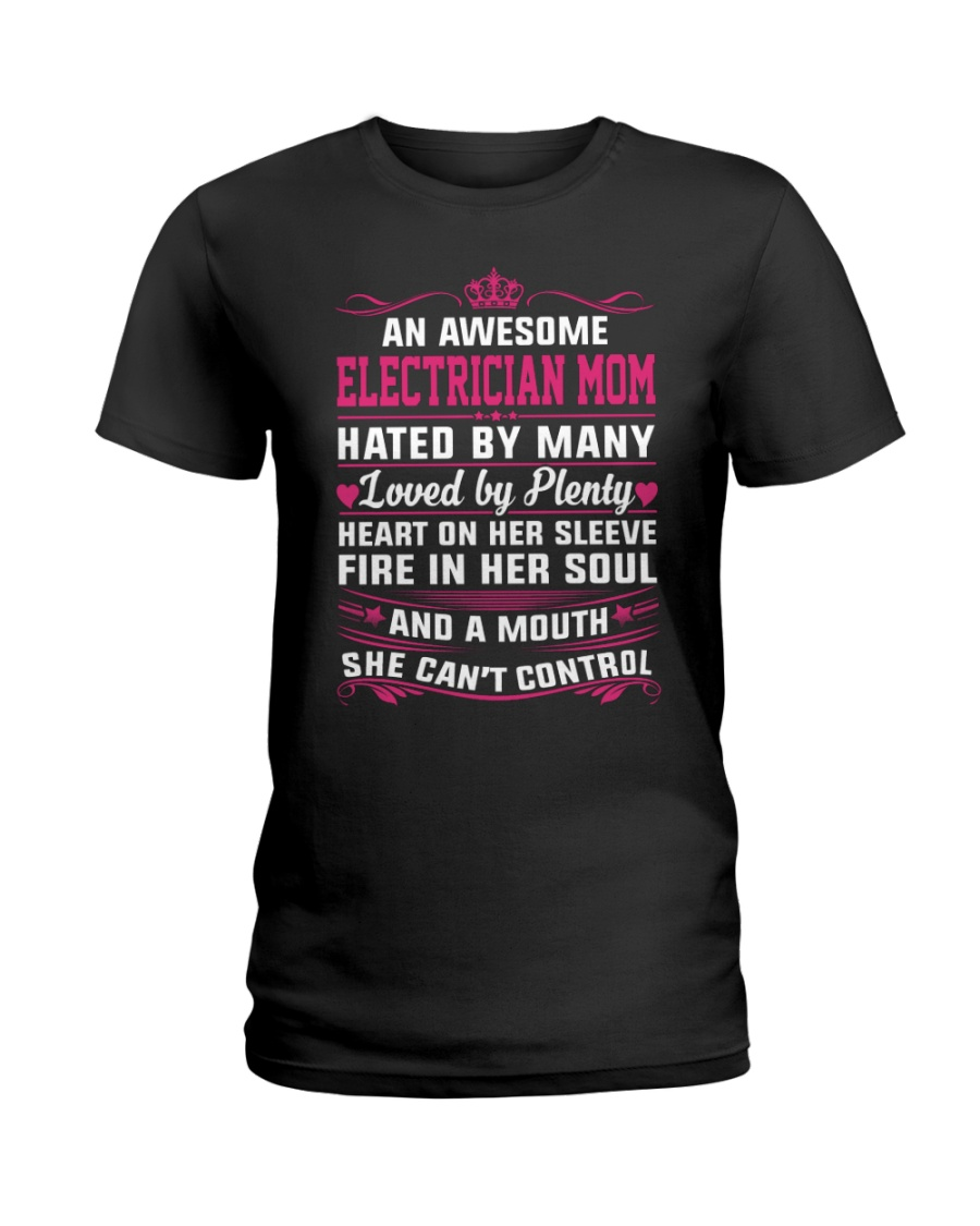 AWESOME ELECTRICIAN MOM Ladies T-Shirt