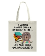 BOOK LOVERS GIFT CUTE DACHSHUND DOG FLOWER FUNNY Tote Bag thumbnail