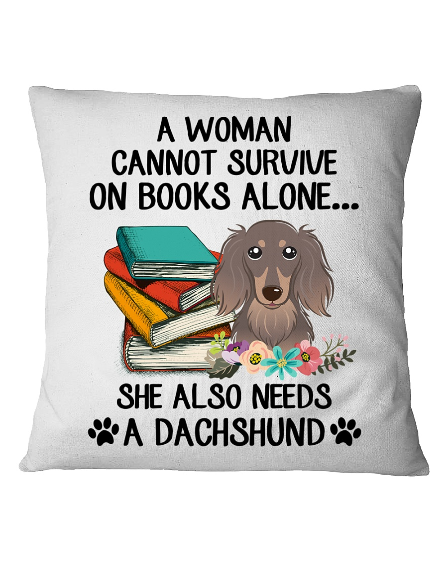 BOOK LOVERS GIFT CUTE DACHSHUND DOG FLOWER FUNNY Square Pillowcase