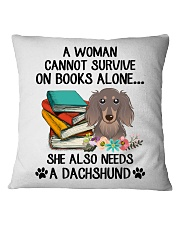 BOOK LOVERS GIFT CUTE DACHSHUND DOG FLOWER FUNNY Square Pillowcase front