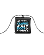 I LOVE CAMPING AND DOGS Metallic Rectangle Necklace thumbnail