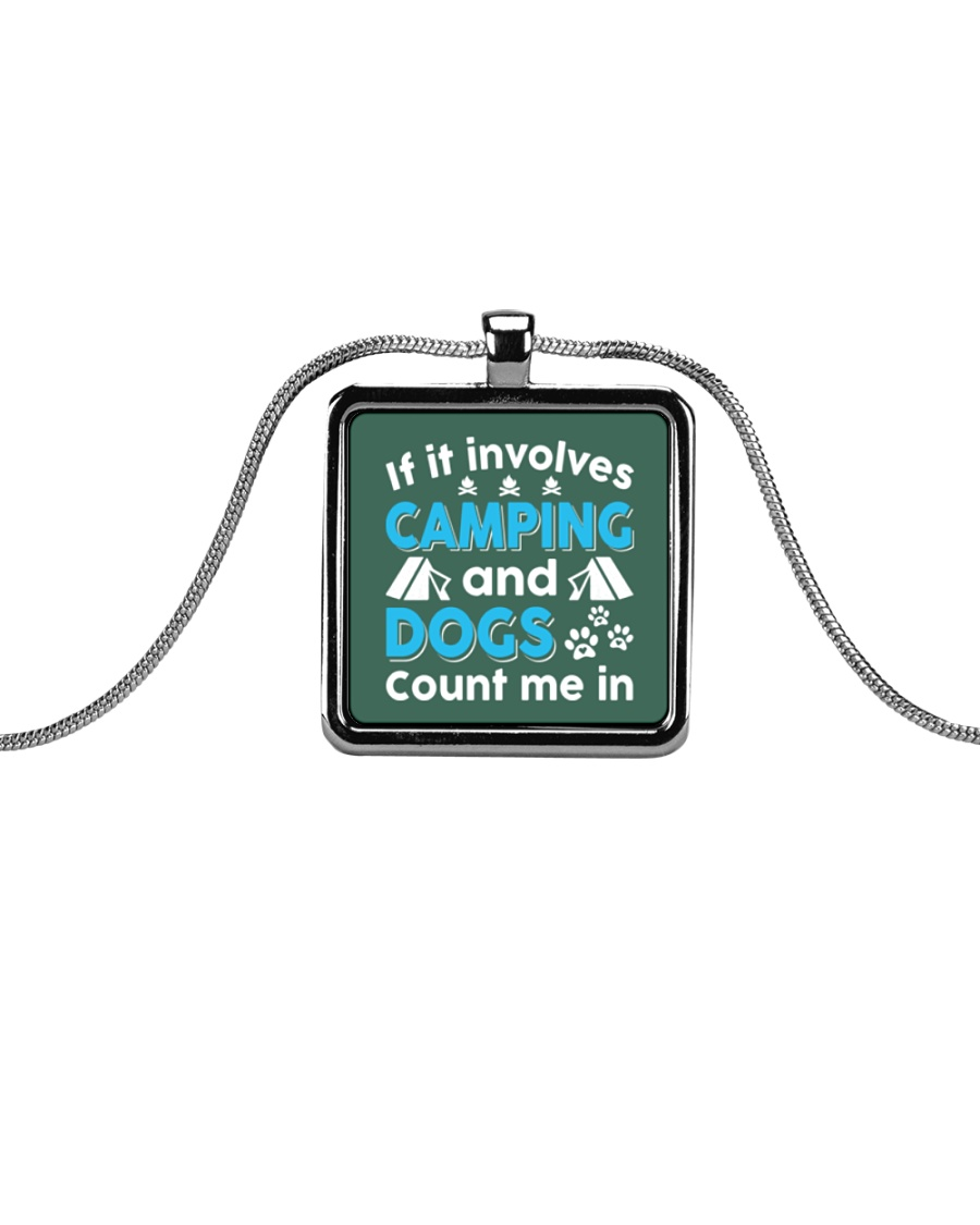 I LOVE CAMPING AND DOGS Metallic Rectangle Necklace