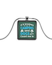 I LOVE CAMPING AND DOGS Metallic Rectangle Necklace front