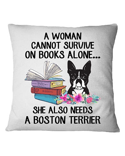 BOOK LOVERS GIFT CUTE BOSTON TERRIER DOG FLOWER