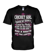 CRICKET GIRL HATED BY MANY LOVED BY PLENTY V-Neck T-Shirt thumbnail