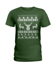 REINDEER UGLY CHRISTMAS SWEATER REINDEER XMAS GIFT Ladies T-Shirt thumbnail