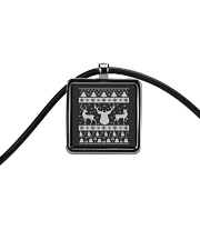 REINDEER UGLY CHRISTMAS SWEATER REINDEER XMAS GIFT Cord Rectangle Necklace thumbnail