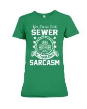 THIS IRISH SEWER SPEAKS FLUENT SARCASM Premium Fit Ladies Tee thumbnail