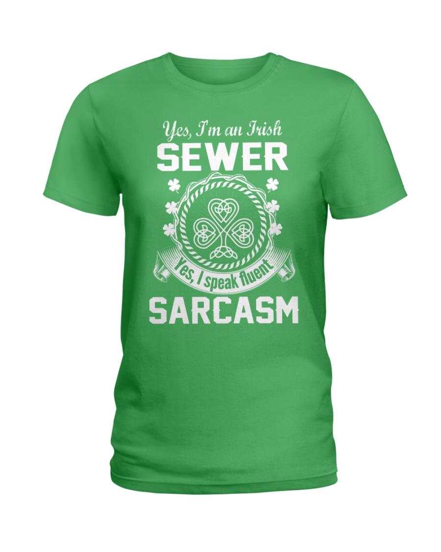 THIS IRISH SEWER SPEAKS FLUENT SARCASM Ladies T-Shirt