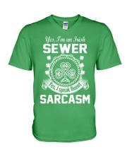 THIS IRISH SEWER SPEAKS FLUENT SARCASM V-Neck T-Shirt thumbnail