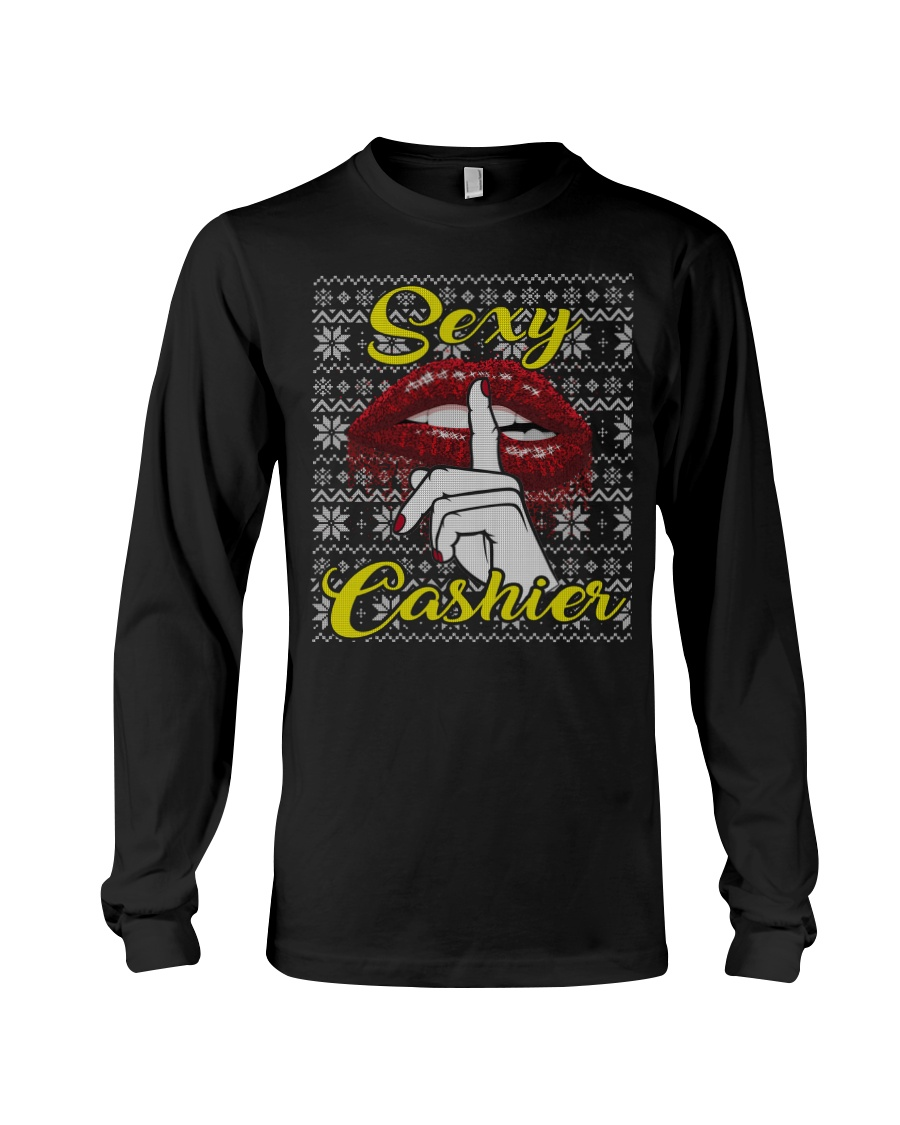 SEXY CASHIER UGLY CHRISTMAS SWEATER CASHIER XMAS Long Sleeve Tee
