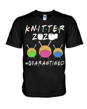 KNITTER 2020 QUARANTINED YARN IN FACEMASK V-Neck T-Shirt thumbnail