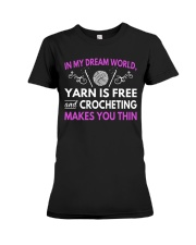 CROCHETING MAKES YOU THIN FUNNY CROCHET Premium Fit Ladies Tee thumbnail