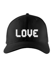 retro game pixel Love word hat Embroidered Hat front