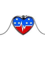 USA heart pulse Metallic Heart Necklace front
