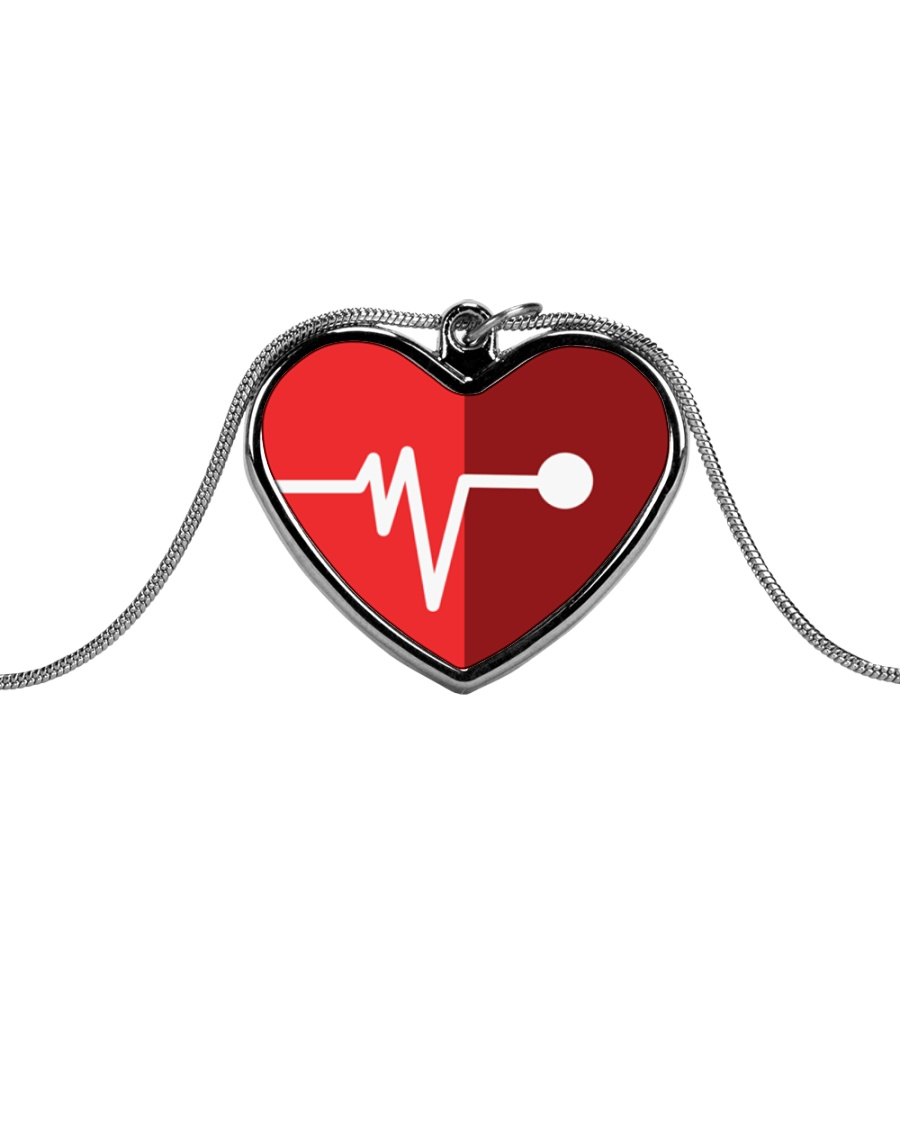 heart and pulse Metallic Heart Necklace