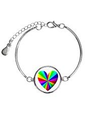 valentine heart rainbow 3D Metallic Circle Bracelet thumbnail