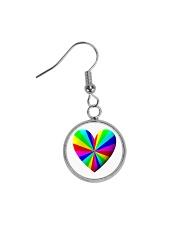 valentine heart rainbow 3D Circle Earrings thumbnail