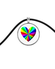 valentine heart rainbow 3D Cord Circle Necklace thumbnail