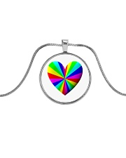 valentine heart rainbow 3D Metallic Circle Necklace thumbnail