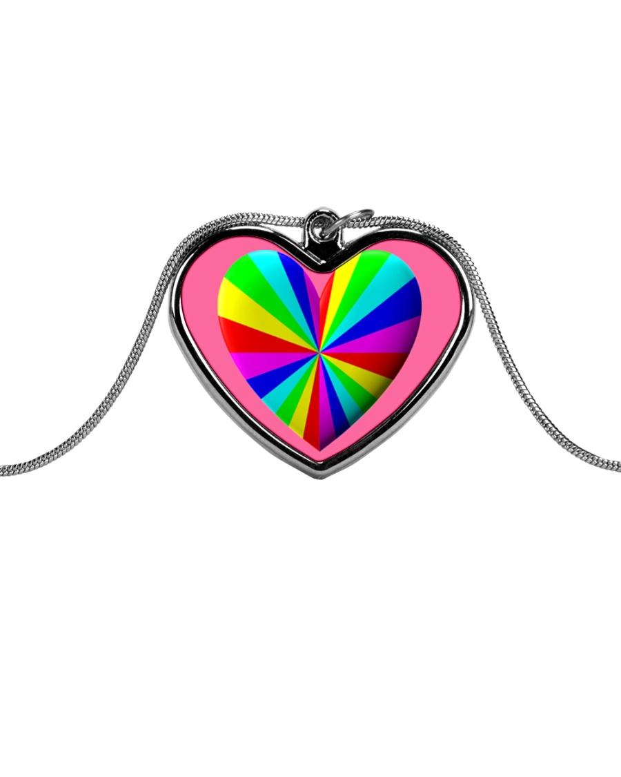 valentine heart rainbow 3D Metallic Heart Necklace