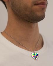 valentine heart rainbow 3D Metallic Heart Necklace aos-necklace-heart-metallic-lifestyle-2