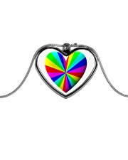 valentine heart rainbow 3D Metallic Heart Necklace front