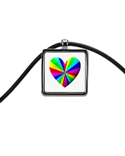 valentine heart rainbow 3D Cord Rectangle Necklace thumbnail