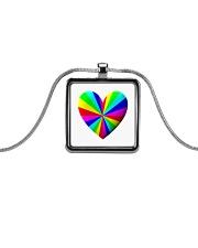 valentine heart rainbow 3D Metallic Rectangle Necklace thumbnail