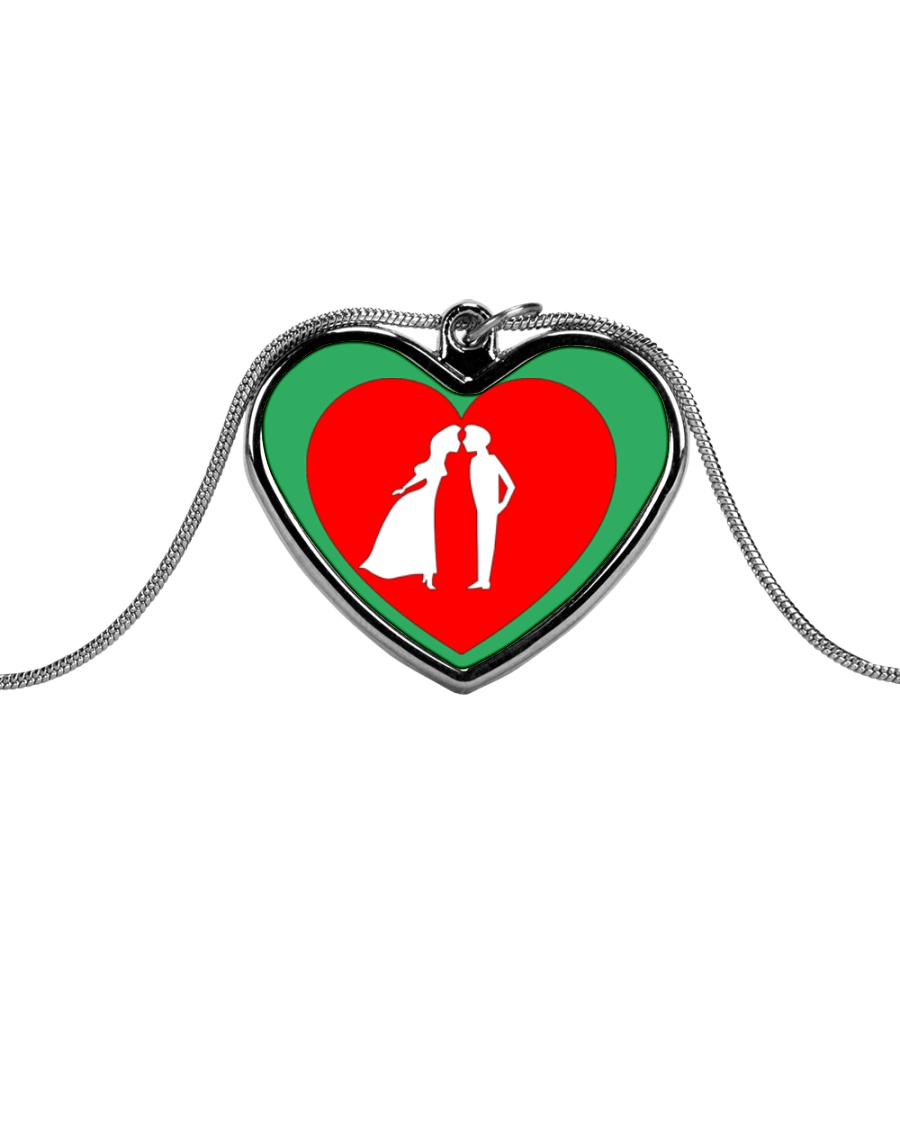 lovers couple Metallic Heart Necklace