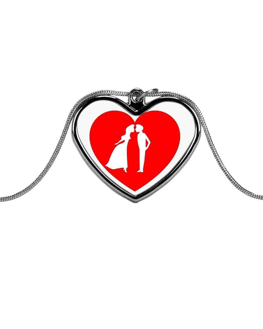 lovers couple Metallic Heart Necklace