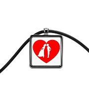 lovers couple Cord Rectangle Necklace thumbnail
