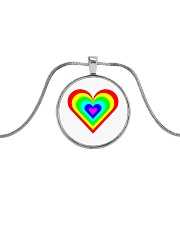Multicolor heart bow Metallic Circle Necklace thumbnail