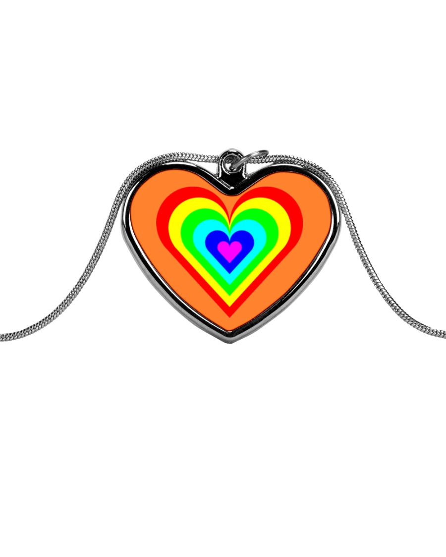 Multicolor heart bow Metallic Heart Necklace