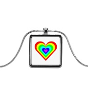 Multicolor heart bow Metallic Rectangle Necklace thumbnail
