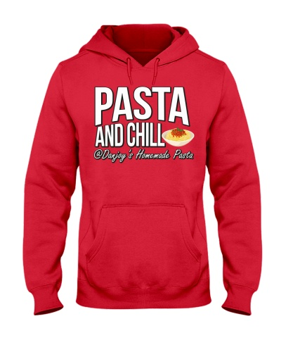 PASTA AND CHILL IN WHITE LETTERS