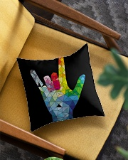 ASL Love Hand Art Square Pillowcase aos-pillow-square-front-lifestyle-07