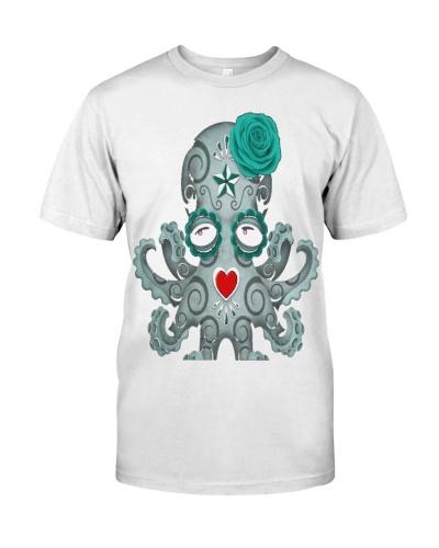 Blue Day of the Dead Sugar Skull Baby Octopus