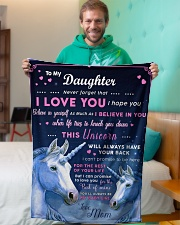 """BL10013P - Beloved Daughter Unicorn-Personalized Small Fleece Blanket - 30"""" x 40"""" aos-coral-fleece-blanket-30x40-lifestyle-front-09"""