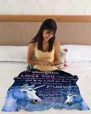 """BL10013P - Beloved Daughter Unicorn-Personalized Small Fleece Blanket - 30"""" x 40"""" aos-coral-fleece-blanket-30x40-lifestyle-front-12"""