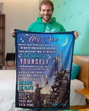 """BL10053 - To My Son Dad With Love Small Fleece Blanket - 30"""" x 40"""" aos-coral-fleece-blanket-30x40-lifestyle-front-09"""