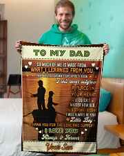 """BL10097 - To My Dad Fishing Love Son Small Fleece Blanket - 30"""" x 40"""" aos-coral-fleece-blanket-30x40-lifestyle-front-09"""