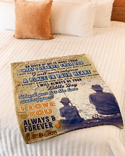 """BL10095 - To My Dad Fishing Love Son Small Fleece Blanket - 30"""" x 40"""" aos-coral-fleece-blanket-30x40-lifestyle-front-01"""